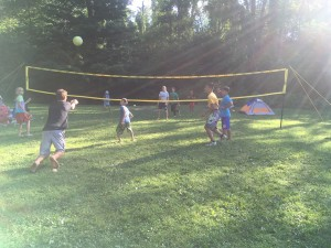 Volleyball was a very popular past time at the campsite.