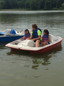 Paddle boats were enjoyed by the campers but tired out the buddies!