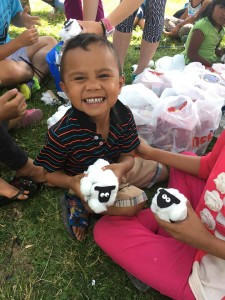 This very proud and happy little boy loved his lamb craft.