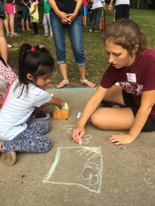 Drawing with sidewalk chalk was popular throughout the summer.